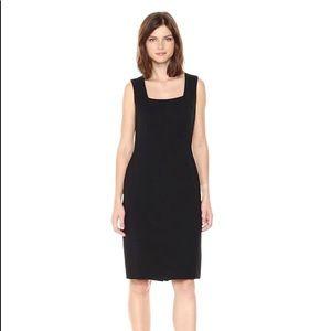 [Tahari ASL] Solid Black Square Neck Sheath Dress